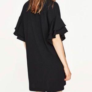 Zara Dresses - NWOT black dress ruffle sleeves size XL